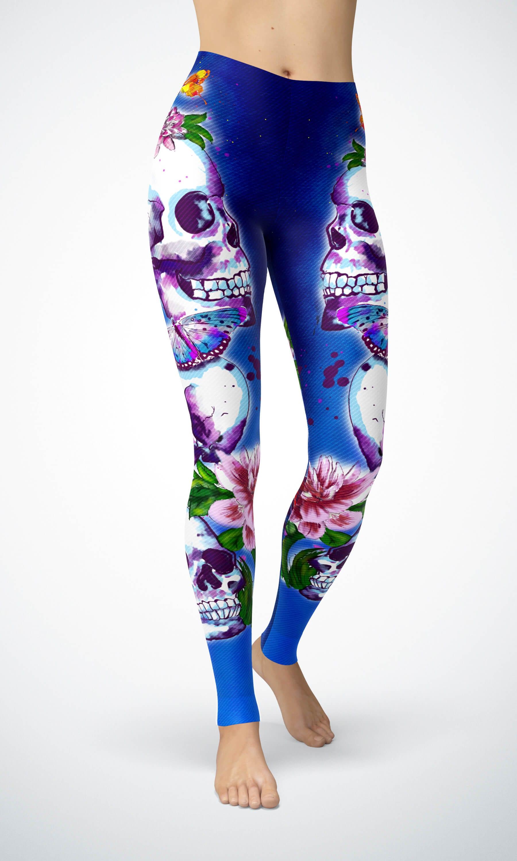 ab0384ec382ce7 Watercolor Skulls Women's Skull leggings- Yoga Leggings/ Yoga Pants ...
